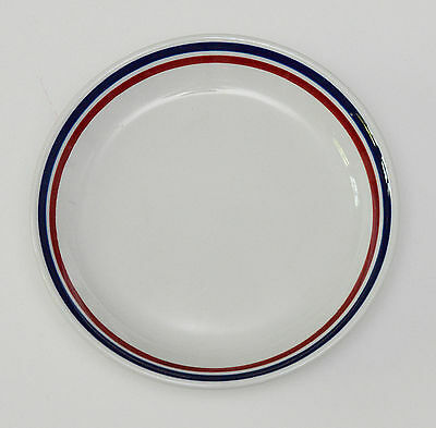 Vintage White China Plate Shenango China by Interpace Red & Blue Striped Trim