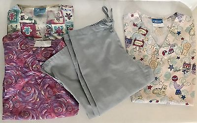 Size M Medium Scrubs Lot Grey Pants V-Neck Tops Short Sleeve Jacket w/ Pockets