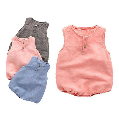 UK New Newborn Boys Girls Linen Bodysuit Jumpsuit Sleeveless Romper Baby Clothes