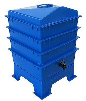 Blue TIGER RAINBOW WORMERY, 4 x Stacking Tray, Composter Waste, Compost Bin NEW