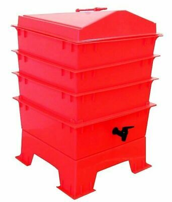Red TIGER RAINBOW WORMERY, 4 x Stacking Trays, Composter Waste, Compost Bin NEW