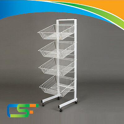 New Heavy Duty White Four Tier Stacking Basket For Retail Shop Display