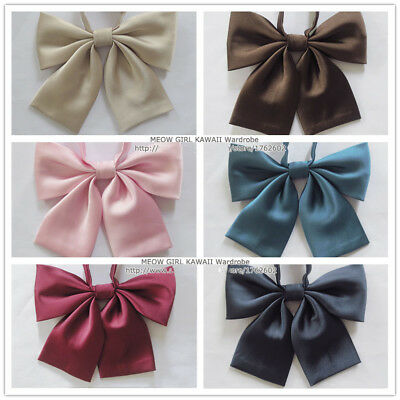 Cute Japanese School Girls JK Uniform Bow Tie Pure Colors Lolita Necktie Cosplay