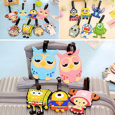 Cartoon Silicone Travel Luggage Tags Baggage Suitcase Bag Labels Name Tags