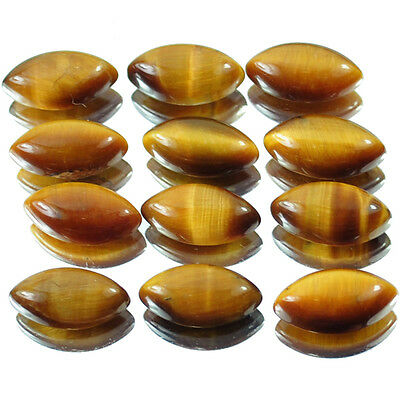 12 Pcs [Calibrated] Natural Untreated Tiger Eye Marquise Cabochon Gemstones Lot