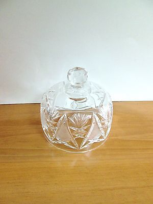 SMALL Crystal Cut Pressed Glass Butter or Cheese Dome Only Fan Triangle Pattern