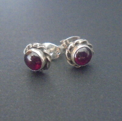 Boucle Oreille Argent Pierre Grenat Naturel Garnet Natural Stone Earrings Silver