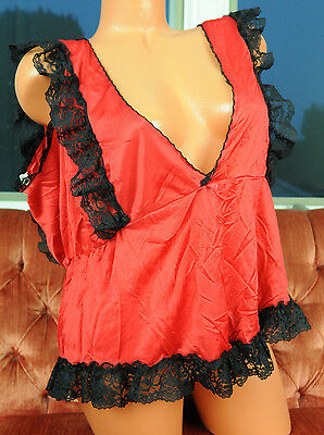 VTG Red Nylon Fancy Black Scalloped Lace Low Cut Sissy Camisole Nightie Top XL