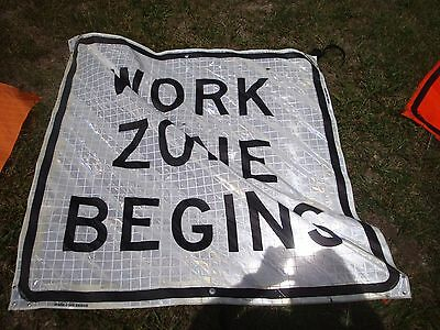 """WORK ZONE BEGINS WHITE   Fluorescent Vinyl With Ribs Road Sign 48"""" X 48"""""""