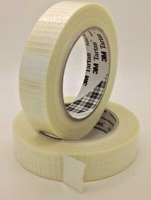 3 x Strong 3M Tartan Full Cross Weave Reinforced Filament Tape Size: 25mm x 50m