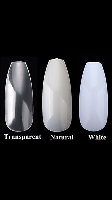 500 Pieces Extra Long Ballerina Coffin Nails Natural Full Cover STURDY DESIGN