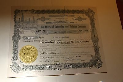 1920 The Overland Producing and Refining Co.Vintage Petroleum Stock Certificate