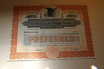 1913 The Florida Timber Products Company Vintage Petroleum Stock Certificate