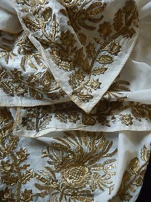 Antique Turkish Gold Metallic Tinsel Embroidered Lawn Kerchief Cover Ottoman