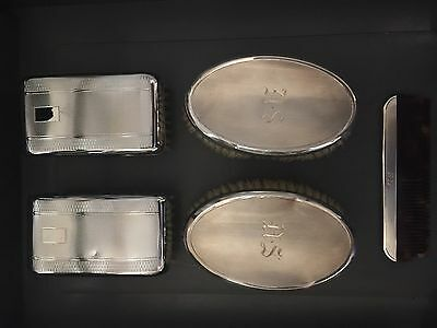 2x Pairs of Silver Gents Clothes Brushes Hallmarked + Silver Comb Freepost