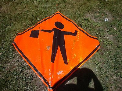 FLAGMAN  ONE (1)   Fluorescent Vinyl With Ribs Road Sign 48 X 48