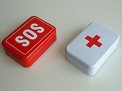 First Aid Tin Box Case Lid Container for Survival Gear Kits Set SOS Pill Box