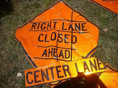 RIGHT LEFT CENTER LANE CLOSED    Fluorescent Vinyl With Ribs Road Sign 48 X 48