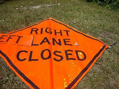 RIGHT LEFT  LANE CLOSED    Fluorescent Vinyl With Ribs Road Sign 48 X 48
