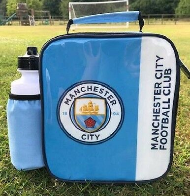 Manchester City FC Vertical Lunch Bag/Box and 600ml Bottle Set | MCFC Lunchbox
