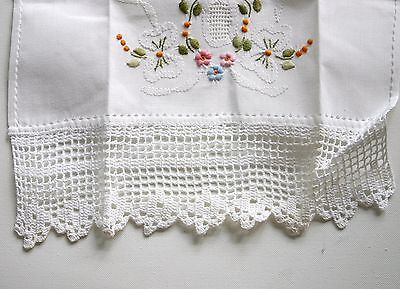 Vintage drawn thread and embroidered towel, placemat set White Crocheted edge
