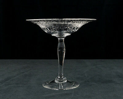 Antique Engraved Tazza, American Brilliant Period Glass c.1920, Pairpoint Cut