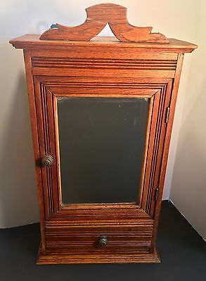Antique Oak Medicine Cabinet With Beveled Mirror & Draw~ Excellent Condition
