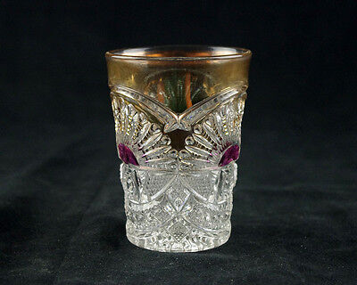 US Glass Rising Sun Tumbler w Amethyst Stain Gold, Antique EAPG c.1908, Sunshine