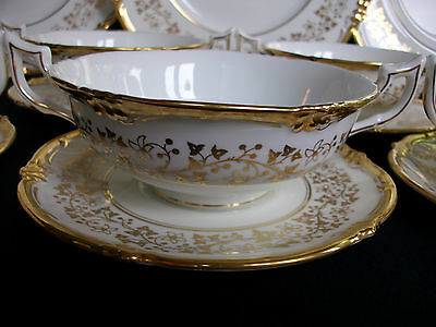 COALPORT V9864 GOLD VINES & FLOWERS (c.1950's) SOUP BOWL & SAUCER- EXCELLENT!!