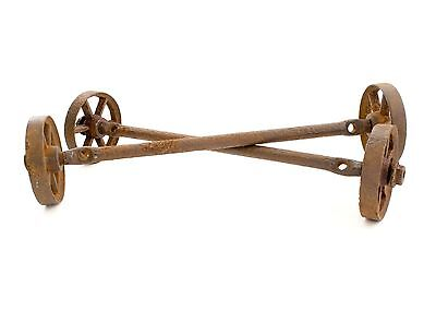 Old Rustic Factory Industrial Cast Iron Coffee Table Cart Wheels w/ Axles