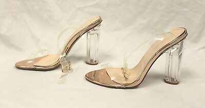 boohoo Women's Amber Glitter Cylinder Clear Two Part Heels Clear/Rose GG8 US:6