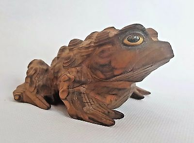 Vintage Japan Large Hand Carved Cryptomeria Wood Horny Toad