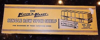 Vintage 50's NOS CHROME Kitchen SPICE RACK Can Shelf Holder Hanger KITCH'N HANDY