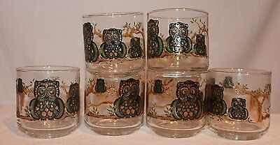 """Libbey Libby Stained Glass Owl Glasses Lowball Footed Lot 6 3 1/8"""" Tall"""