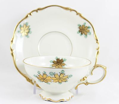 11 Sets Cups & Saucers Hand Painted Heinrich China Footed Gold Blue Cream Floral