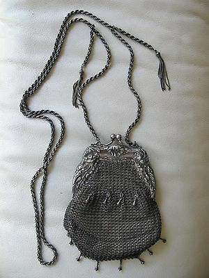 Antique Art Nouveau German Silver Braided Chain Leather Lining Mesh Purse