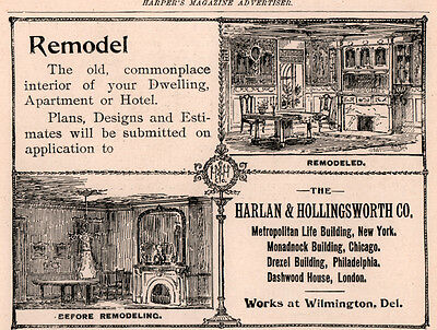 Ad Lot Of 2 1890 's Ads Mantel  Harlan Hollingsworth Remodel Interior