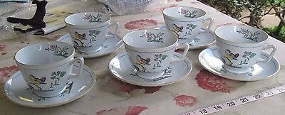 Vtg. Spode Copeland Queen's Bird Cups & Saucers/Lot of 10 Pieces/Fine Stoneware