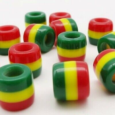 4 Reggae Dreadlock Hair Beads, Cuffs, Rings for Braids, Marley Extensions Rasta