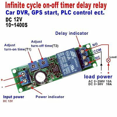 Qianson DC 5V 12V 24V Infinite Cycle Delay Timer Time Relay ON OFF Switch Loop