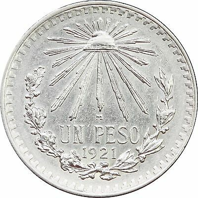 Mexico 1 Peso Cap and Rays 1921, Scarce. Nice condition AU - UNC KM# 455