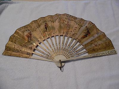 Vintage Ladies Hand Fan With Gold & Silver Inlays