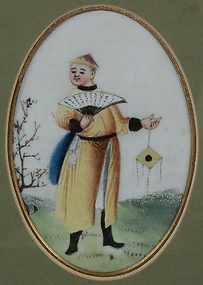 Fine Antique Chinese Rice Pith Paper Painting Court Man with Fan