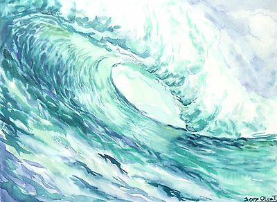 Original Watercolor Painting Unframed Waves Beach Nautical Surf Olga Tremaine