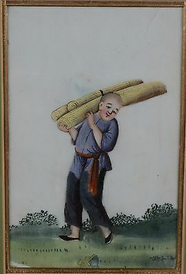 Fine Antique Chinese Rice Pith Paper Painting Man Carrying Mat Rolls