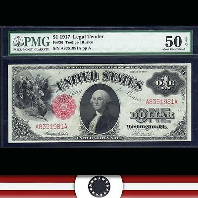 1917 $1 One Dollar Legal Tender Large Size Note PMG 50 EPQ Fr 36 A8351981A