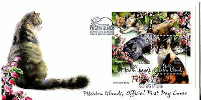 Pitcairn Islands 2002 Cats MS  FDC