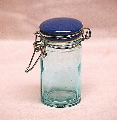 Vintage Style Blue Glass Canister Storage Jar Tool w Wire Bale Blue Locking Lid