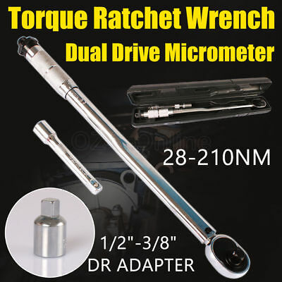"""VEH-TOO 1/2"""" Adjustable Dual Drive Micrometer Torque Ratchet Wrench 28-210NM New"""