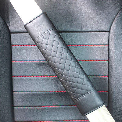 2pcs Black Car Safety Belt Covers Leather Seat Belt Shoulder Pad Aidjustable Hot